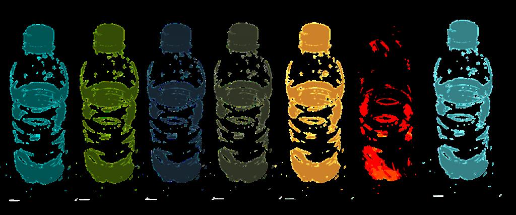 water bottles in a row